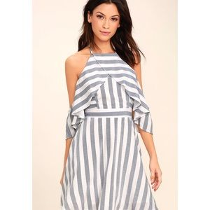 LULU'S The Wind is Right Off-the-Shoulder Dress
